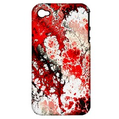 Red Fractal Art Apple Iphone 4/4s Hardshell Case (pc+silicone)