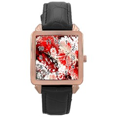 Red Fractal Art Rose Gold Leather Watch