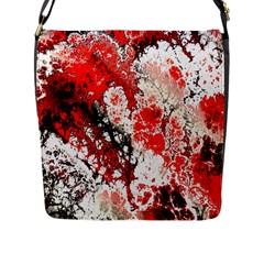 Red Fractal Art Flap Messenger Bag (L)