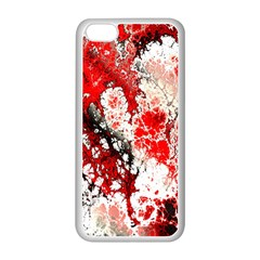 Red Fractal Art Apple iPhone 5C Seamless Case (White)
