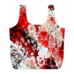 Red Fractal Art Full Print Recycle Bags (L)