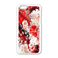 Red Fractal Art Apple iPhone 6/6S White Enamel Case