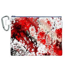 Red Fractal Art Canvas Cosmetic Bag (XL)