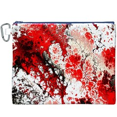 Red Fractal Art Canvas Cosmetic Bag (xxxl)