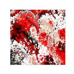 Red Fractal Art Small Satin Scarf (square)