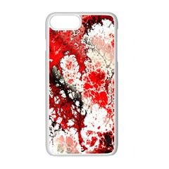 Red Fractal Art Apple Iphone 7 Plus White Seamless Case