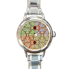 Multicolor Fractal Background Round Italian Charm Watch