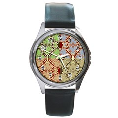 Multicolor Fractal Background Round Metal Watch