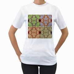 Multicolor Fractal Background Women s T Shirt (white) (two Sided)