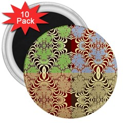 Multicolor Fractal Background 3  Magnets (10 Pack)