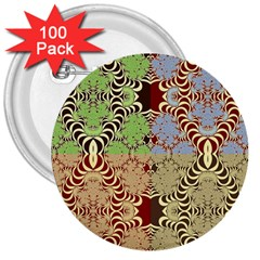 Multicolor Fractal Background 3  Buttons (100 Pack)