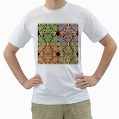 Multicolor Fractal Background Men s T Shirt (white) (two Sided)