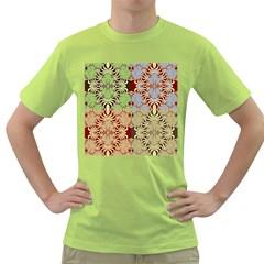 Multicolor Fractal Background Green T Shirt