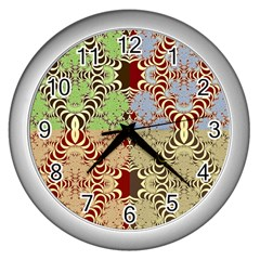 Multicolor Fractal Background Wall Clocks (Silver)