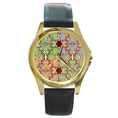 Multicolor Fractal Background Round Gold Metal Watch