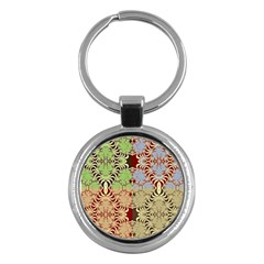 Multicolor Fractal Background Key Chains (round)