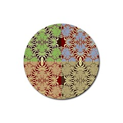 Multicolor Fractal Background Rubber Round Coaster (4 Pack)