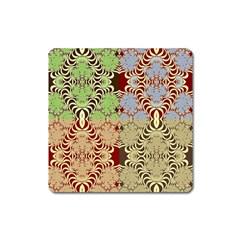 Multicolor Fractal Background Square Magnet