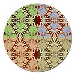 Multicolor Fractal Background Magnet 5  (round)