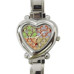 Multicolor Fractal Background Heart Italian Charm Watch