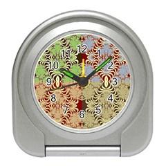 Multicolor Fractal Background Travel Alarm Clocks