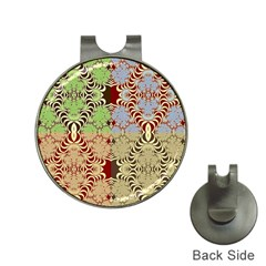 Multicolor Fractal Background Hat Clips With Golf Markers