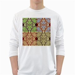 Multicolor Fractal Background White Long Sleeve T-Shirts