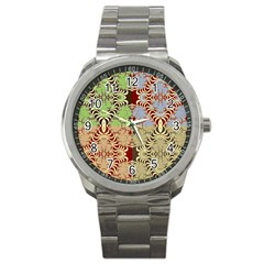 Multicolor Fractal Background Sport Metal Watch