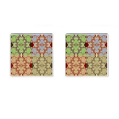 Multicolor Fractal Background Cufflinks (square)