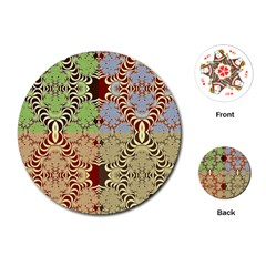 Multicolor Fractal Background Playing Cards (round)