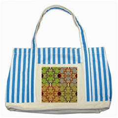Multicolor Fractal Background Striped Blue Tote Bag