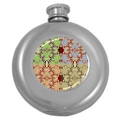 Multicolor Fractal Background Round Hip Flask (5 Oz)