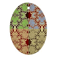 Multicolor Fractal Background Oval Ornament (two Sides)