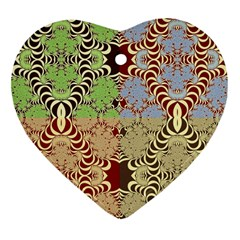 Multicolor Fractal Background Heart Ornament (two Sides)