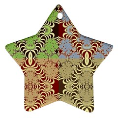 Multicolor Fractal Background Star Ornament (two Sides)