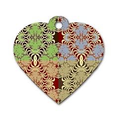 Multicolor Fractal Background Dog Tag Heart (one Side)