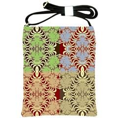 Multicolor Fractal Background Shoulder Sling Bags