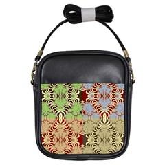 Multicolor Fractal Background Girls Sling Bags