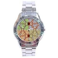 Multicolor Fractal Background Stainless Steel Analogue Watch