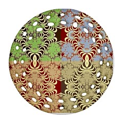 Multicolor Fractal Background Round Filigree Ornament (two Sides)