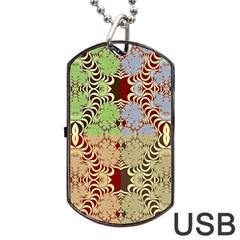 Multicolor Fractal Background Dog Tag USB Flash (One Side)