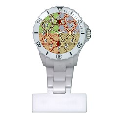 Multicolor Fractal Background Plastic Nurses Watch