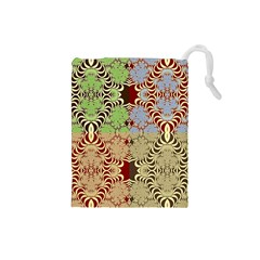 Multicolor Fractal Background Drawstring Pouches (Small)