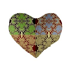 Multicolor Fractal Background Standard 16  Premium Flano Heart Shape Cushions