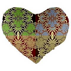 Multicolor Fractal Background Large 19  Premium Flano Heart Shape Cushions