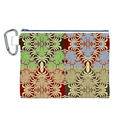 Multicolor Fractal Background Canvas Cosmetic Bag (l)