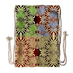 Multicolor Fractal Background Drawstring Bag (large)