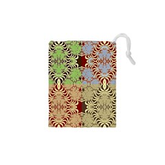Multicolor Fractal Background Drawstring Pouches (XS)