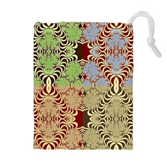 Multicolor Fractal Background Drawstring Pouches (extra Large)