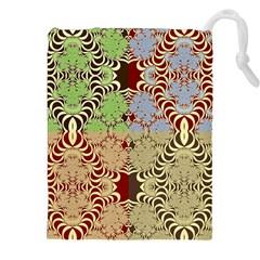 Multicolor Fractal Background Drawstring Pouches (XXL)